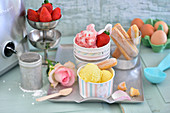 Strawberry ice cream with rose petals and vanilla ice cream with sponge fingers