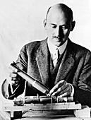 Goddard Holding Parts of 1915 Rocket