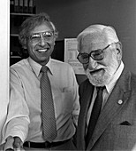 Robert Gallo and Albert Sabin, 1985