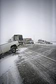Icy Road Collision Scene