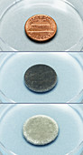 Copper reacting with silver nitrate