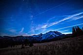 Milky Way, Vapor Trails, Mt. Rainier