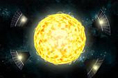 Possible Solar Panels Orbiting Star KIC 8462852
