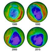 Antarctic Ozone Hole, 1980, 1990, 2000, and 2015