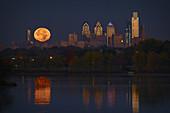 Supermoon Philadelphia Skyline
