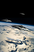 Spaceships in Orbit Over Earth