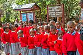 Schoolchildren at the Nairobi Giraffe Centre