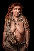 Female Neanderthal model