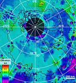 Mars southern polar region, MARSIS subsurface image