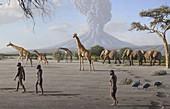 Laetoli fossil footprints scene, illustration