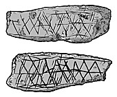 Stone Age ochre carvings, illustration