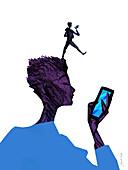 Teenage smartphone addiction, conceptual image