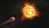 Exoplant and red dwarf stellar flares, illustration