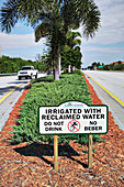 Irrigated with reclaimed water sign, Florida, USA