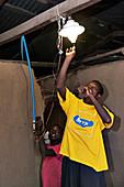 Methane powered light, Uganda