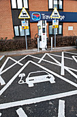 Electric car recharging point, UK