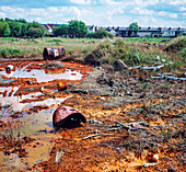Toxic land pollution, Walsall, West Midlands, UK