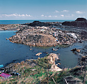 Coastal mining pollution, Lynemouth, Northumbria, UK