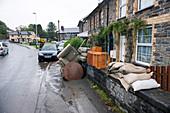 Flood damage, Aberysytwyth, Wales, UK