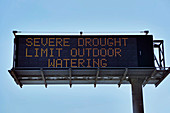 Extreme drought warning sign, California, USA