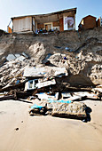Collapsed cliff top property, Hemsby, Norfolk, UK, 2018