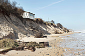 Collapsing cliff top property, Hemsby, Norfolk, UK, 2018