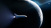 Big Falcon Rocket passing the Moon, artwork