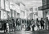 Melbourne street scene, Australia, 1860s
