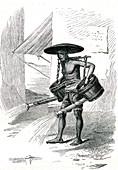 Road worker in Java, 1860s