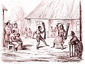 New Guinea warrior dance, 18th century