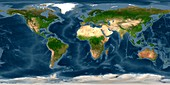 World land and sea floor topography