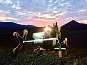 Lunar rover testing in volcanic landscape