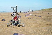 Martian rover tests on sandy beach