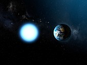 Sirius B compared to the Earth, illustration