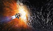 Destruction of asteroid threatening Earth, illustration