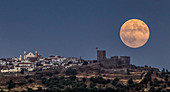 Supermoon over Portuguese village