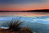 Frozen Gouldsboro Lake at sunset