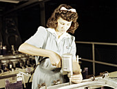 WWII, Female Driller, Airplane Factory, 1942