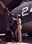 WWII, Female Workers, Naval Air Base, 1942