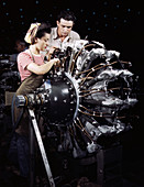 WWII, Mechanic Training, Airplane Factory, 1942