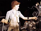 WWII, Woman Using Lathe Machine, 1942