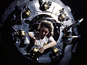 WWII, Woman Cowling Motor, B-25 Bomber, 1942