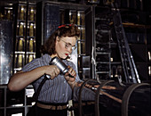 WWII, Woman Worker, Airplane Factory, 1942