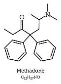 Methadone, molecular model