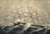 Ship in Squall, 19th Century