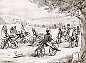 Dandies Riding Velocipedes, 1819