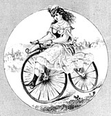 Woman Riding Velocipede, 1869