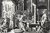 Weaving Room, Silk Making in Europe, 16th Century