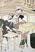 Sorting Silkworm Cocoons, Silk Making in Japan