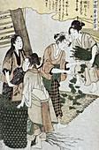 Feeding Silkworms, Silk Making in Japan